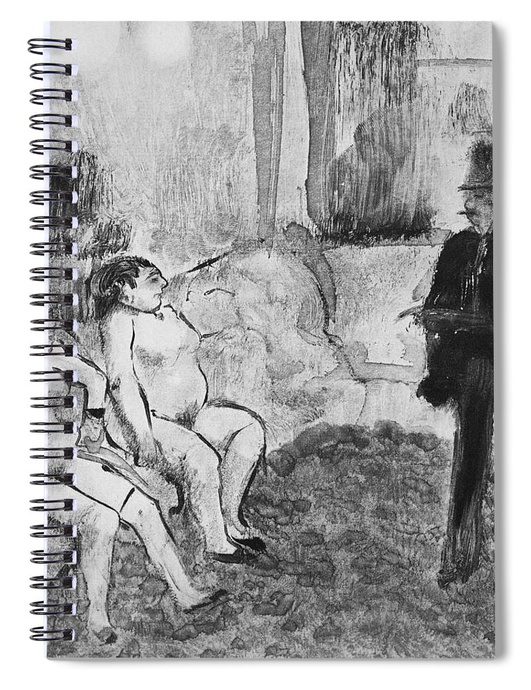 Interior Spiral Notebook featuring the drawing Illustration From La Maison Tellier by Edgar Degas