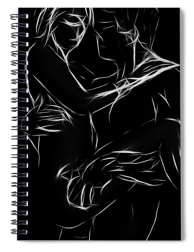 Couple Lover Lovers Arms Woman Man Female Male Nude Naked Black White Abstract Expressionism Erotic Spiral Notebook featuring the painting In Your Arms by Steve K