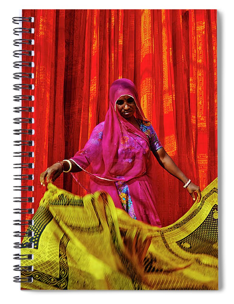 Working Spiral Notebook featuring the photograph India, Rajasthan, Sari Factory by Tuul & Bruno Morandi