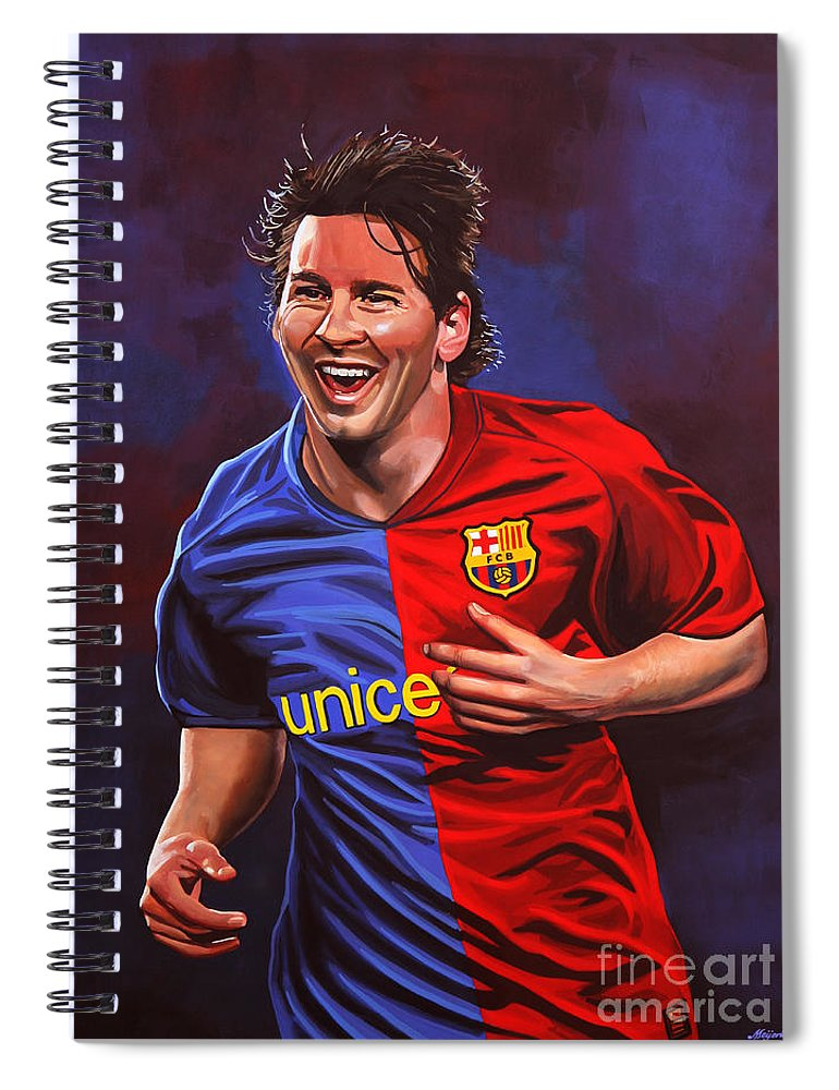 Lionel Messi Spiral Notebook featuring the painting Lionel Messi 2 by Paul Meijering