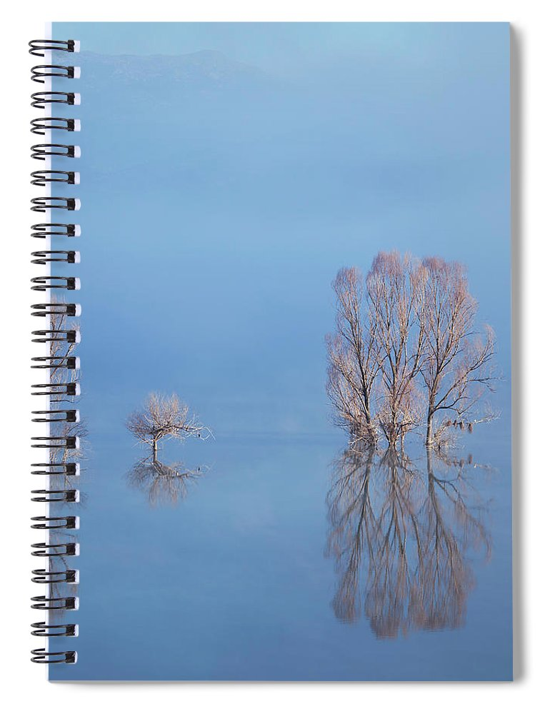 Water's Edge Spiral Notebook featuring the photograph Misty Lake In Spring by Temizyurek
