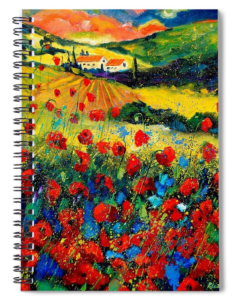 Flowersn Landscape Spiral Notebook featuring the painting Poppies in Tuscany by Pol Ledent