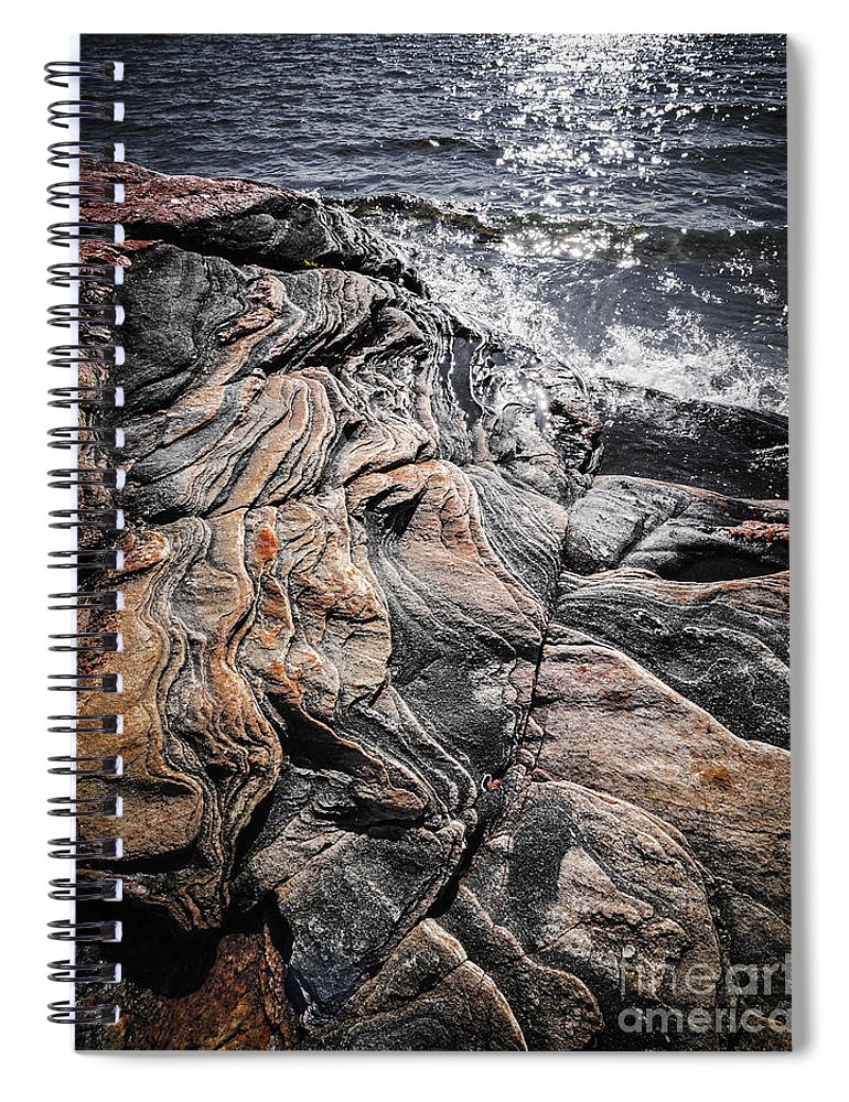Rocks Spiral Notebook featuring the photograph Rock Formations At Georgian Bay by Elena Elisseeva