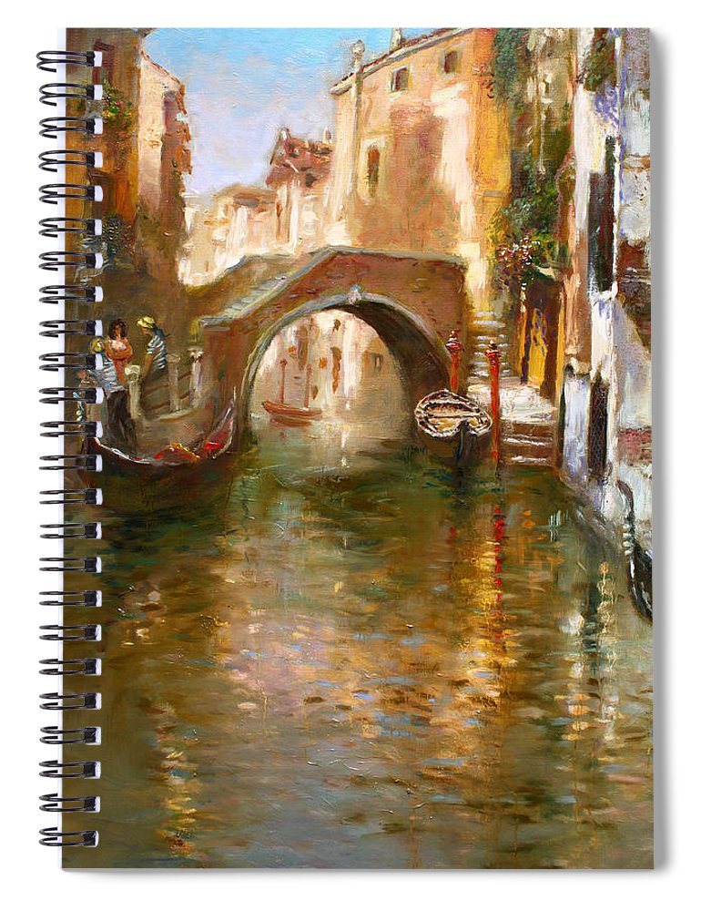 Romance Spiral Notebook featuring the painting Romance in Venice by Ylli Haruni