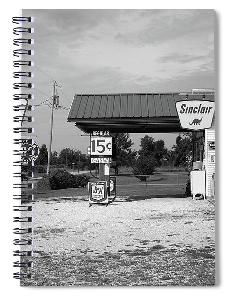 66 Spiral Notebook featuring the photograph Route 66 Gas Station by Frank Romeo