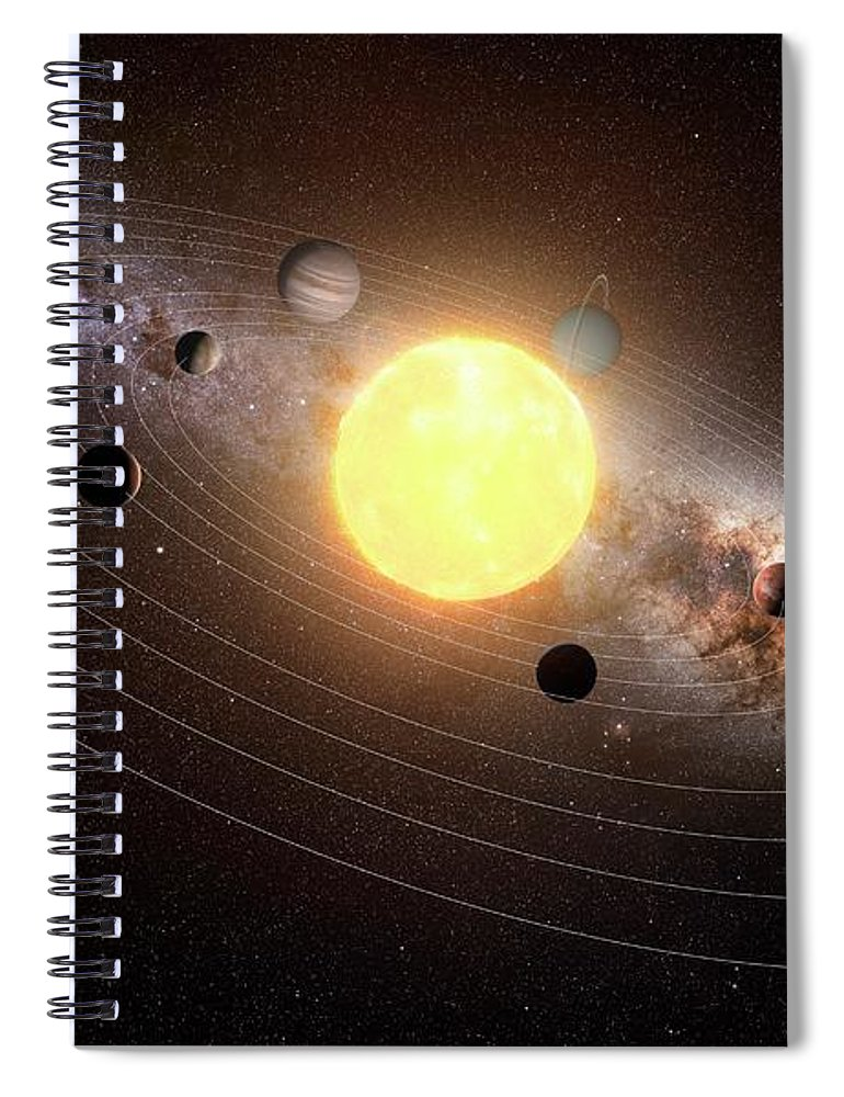 Black Background Spiral Notebook featuring the digital art Solar System, Artwork by Sciepro