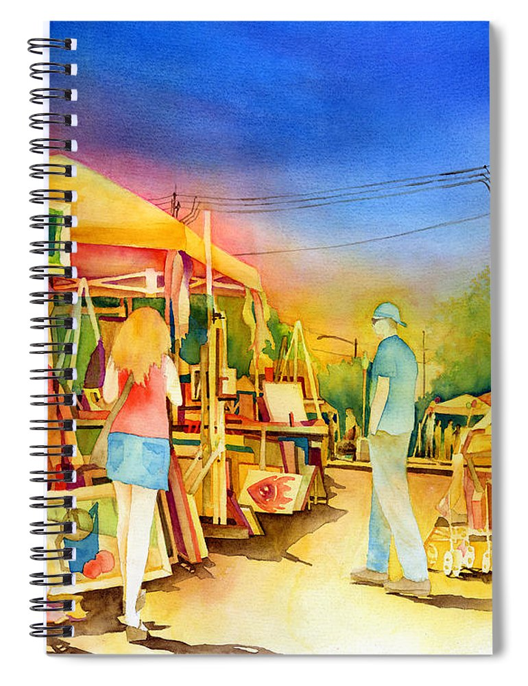 Downtown Bryan Spiral Notebook featuring the painting Street Art Fair by Hailey E Herrera