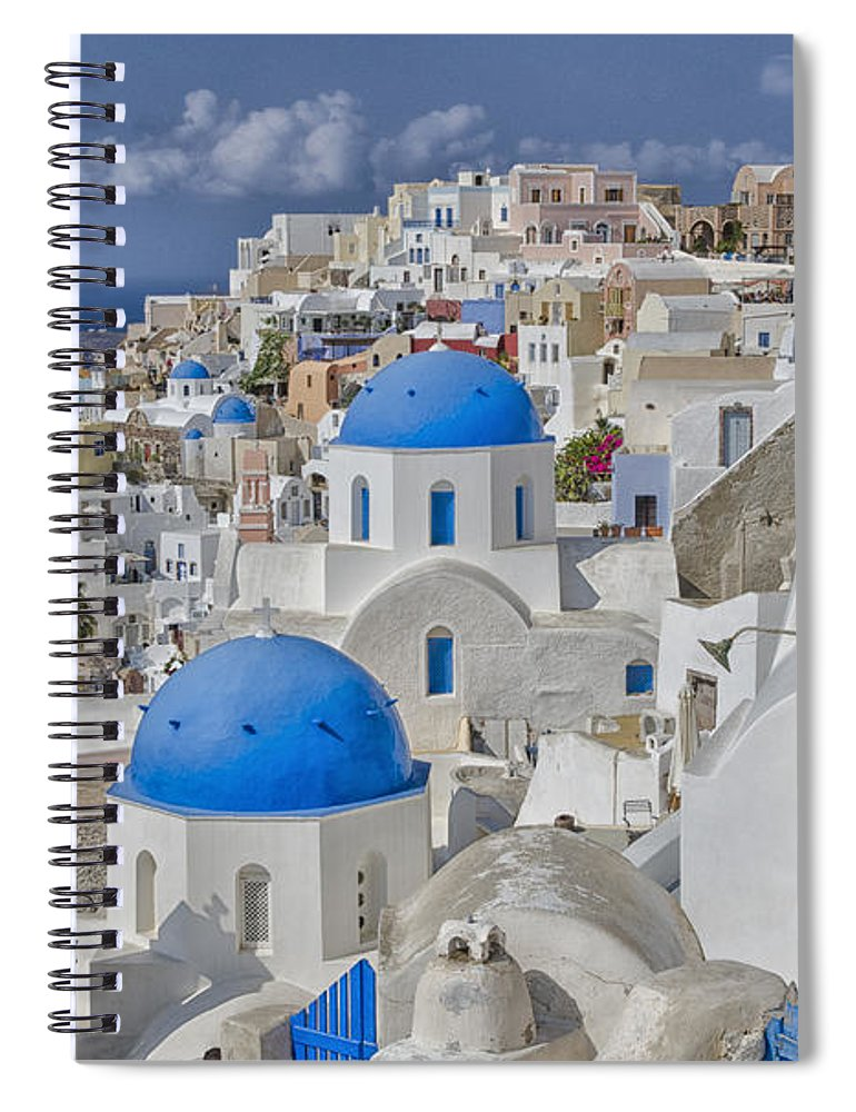 White Spiral Notebook featuring the photograph White Buildings With Steep Slope by Bill Bachmann