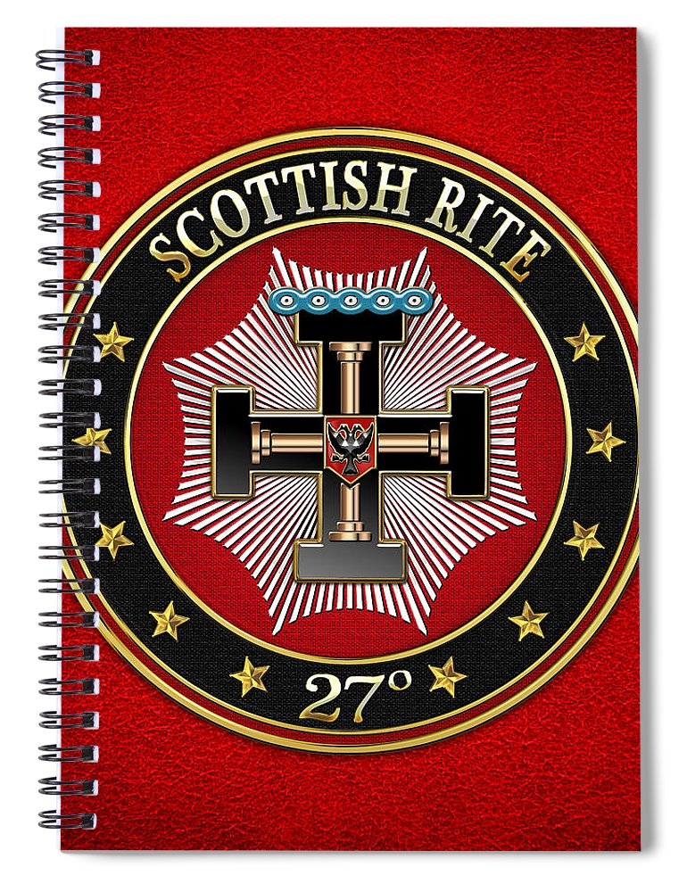 'scottish Rite' Collection By Serge Averbukh Spiral Notebook featuring the digital art 27th Degree - Knight Of The Sun Or Prince Adept Jewel On Red Leather by Serge Averbukh