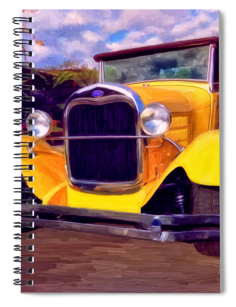 Resto Mod Spiral Notebook featuring the painting '28 Ford Pick Up by Michael Pickett