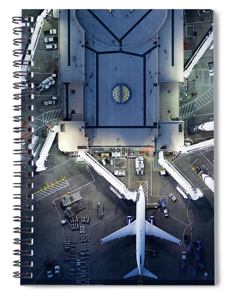 Airport Terminal Spiral Notebook featuring the photograph Airliners At Gates And Control Tower by Michael H