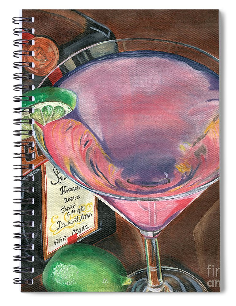 Martini Spiral Notebook featuring the painting Cosmo Martini by Debbie DeWitt
