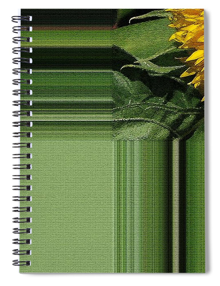 Dwarf Spiral Notebook featuring the painting Dwarf Sunflower Named Teddy Bear by J McCombie