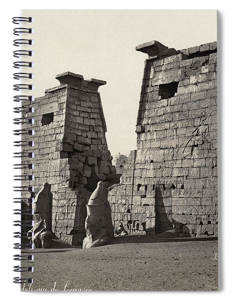 19th Century Spiral Notebook featuring the photograph Egypt Luxor Temple by Granger