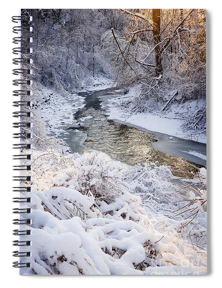Winter Spiral Notebook featuring the photograph Forest Creek After Winter Storm by Elena Elisseeva
