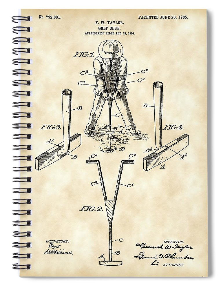 Golf Spiral Notebook featuring the digital art Golf Club Patent 1904 - Vintage by Stephen Younts