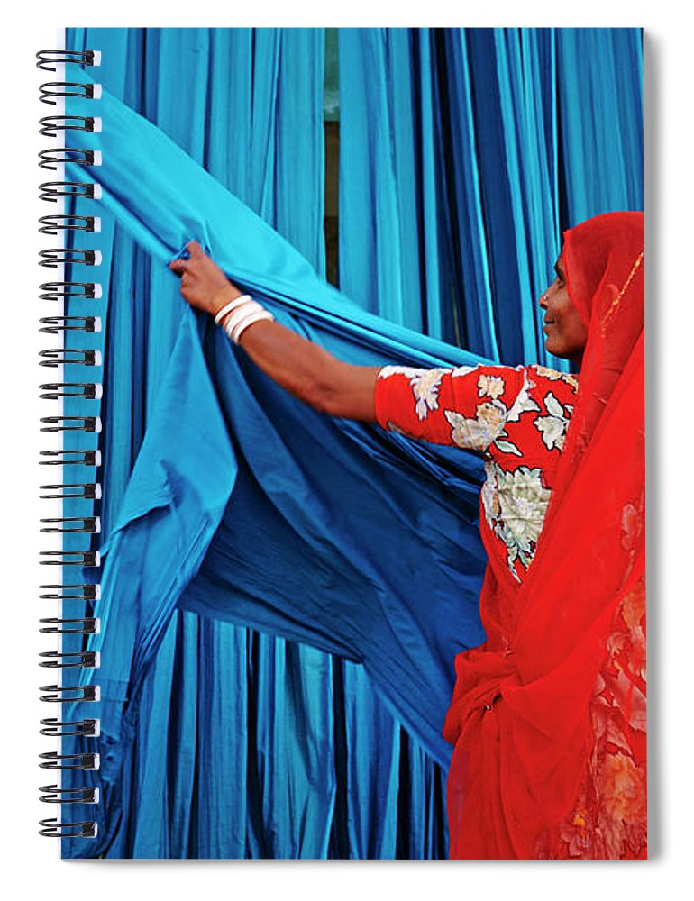 Expertise Spiral Notebook featuring the photograph India, Rajasthan, Sari Factory by Tuul & Bruno Morandi