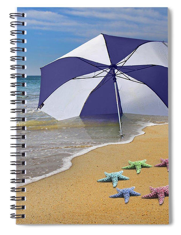 Beach Spiral Notebook featuring the digital art Life's A Beach 3 by Betsy Knapp