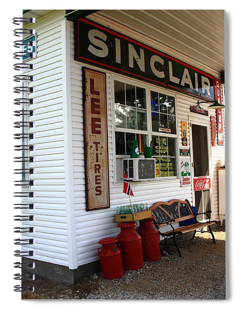 66 Spiral Notebook featuring the photograph Route 66 Filling Station by Frank Romeo