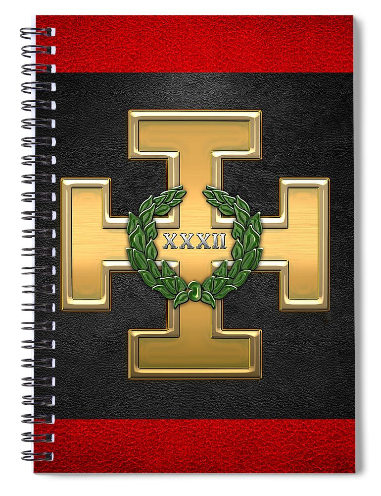 'ancient Brotherhoods' Collection By Serge Averbukh Spiral Notebook featuring the digital art 32nd Degree Mason - Master Of The Royal Secret Masonic Jewel by Serge Averbukh