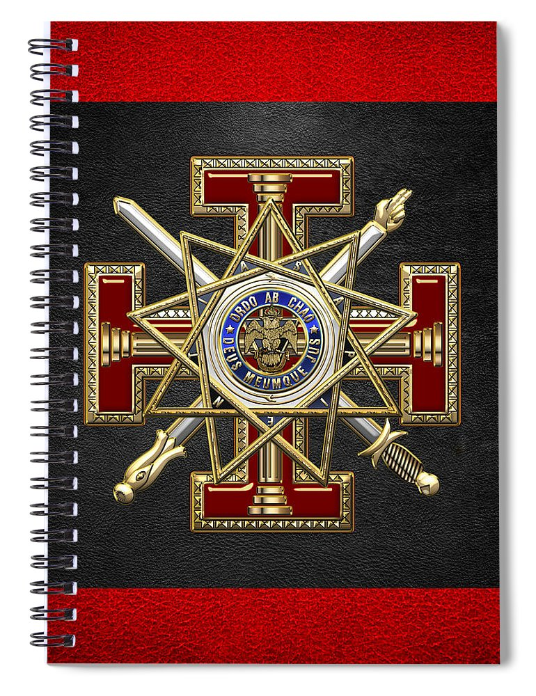 'ancient Brotherhoods' Collection By Serge Averbukh Spiral Notebook featuring the digital art 33rd Degree Mason - Inspector General Masonic Jewel by Serge Averbukh