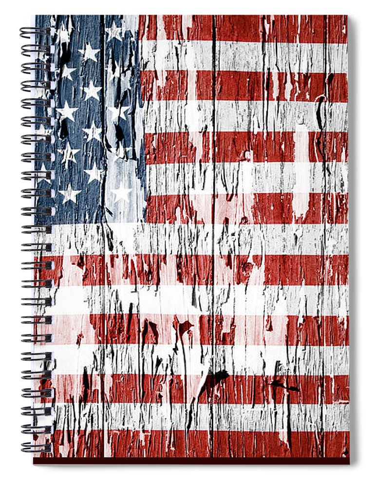 Flag Spiral Notebook featuring the photograph American flag grunge effect by Les Cunliffe