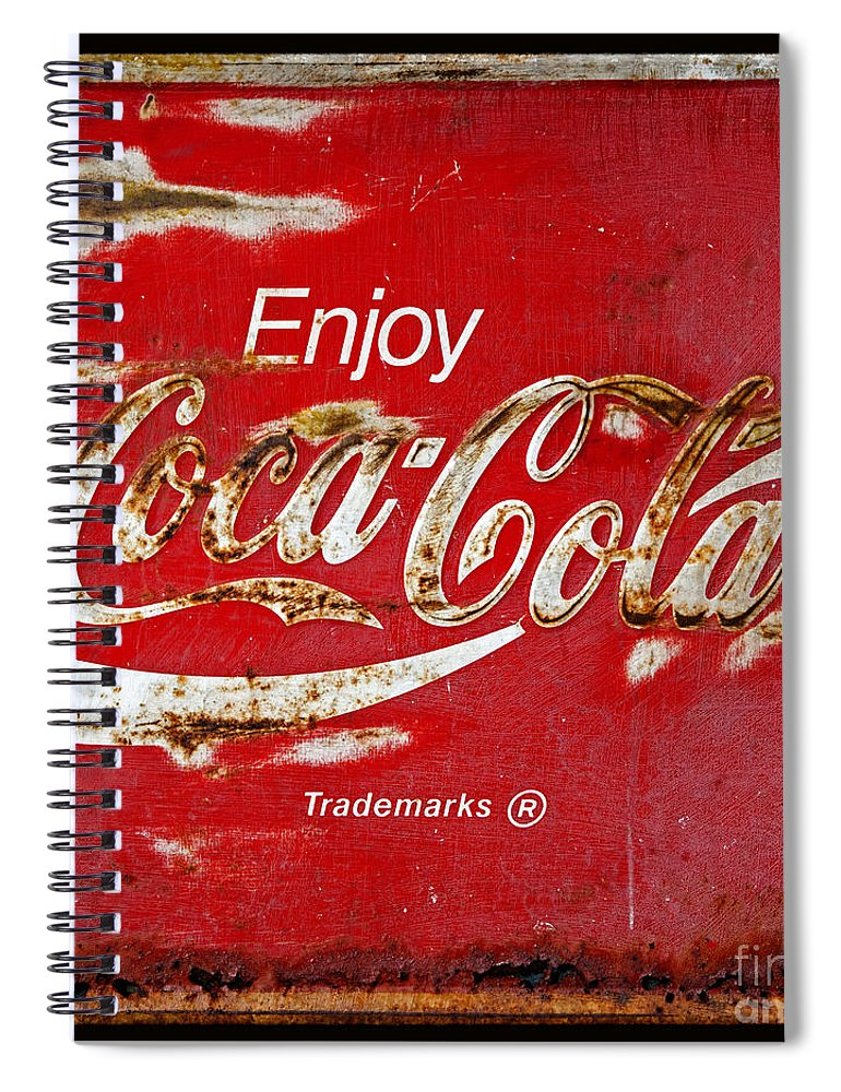 Coca Cola Spiral Notebook featuring the photograph Coca Cola Vintage Rusty Sign Black Border by John Stephens