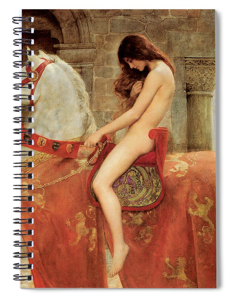 Lady Godiva Spiral Notebook featuring the painting Lady Godiva by John Collier