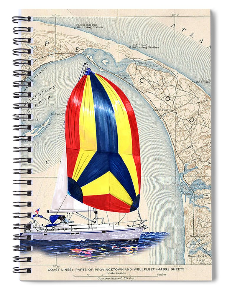 39 Beneteau Sailing On Old Cape Cod Spiral Notebook featuring the painting 39 Foot Beneteau Cape Cod Chart Art by Jack Pumphrey