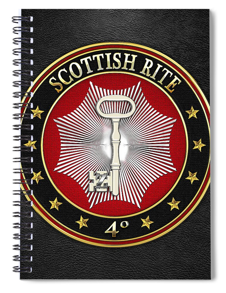 'scottish Rite' Collection By Serge Averbukh Spiral Notebook featuring the digital art 4th Degree - Secret Master Or Master Traveler Jewel On Black Leather by Serge Averbukh