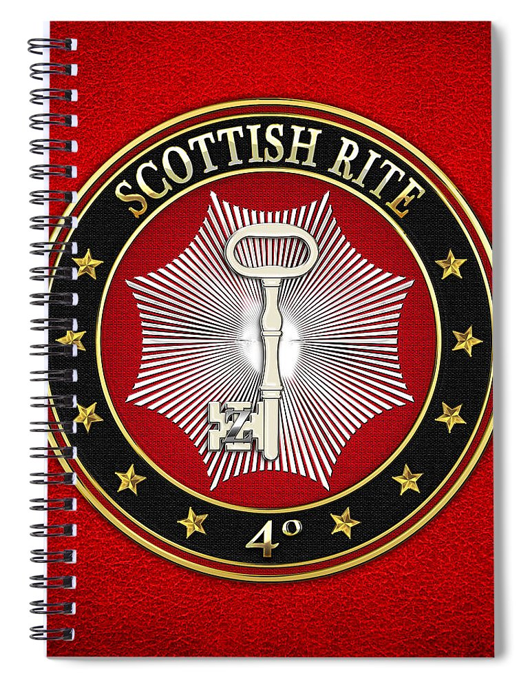 'scottish Rite' Collection By Serge Averbukh Spiral Notebook featuring the digital art 4th Degree - Secret Master Or Master Traveler Jewel On Red Leather by Serge Averbukh