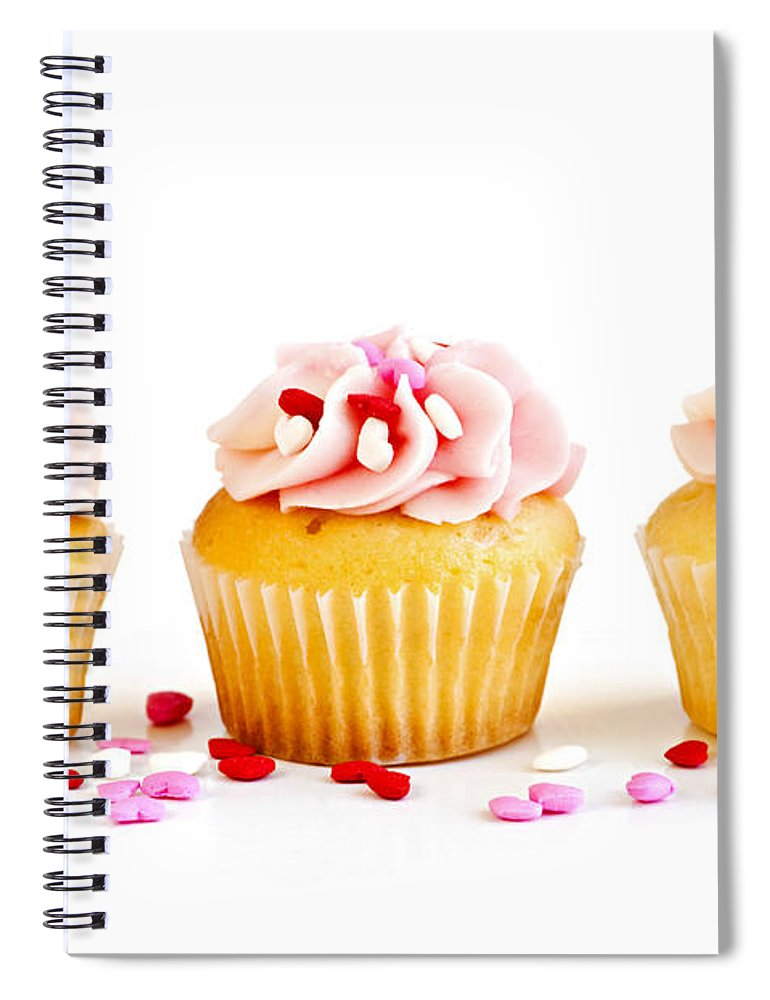 Row Spiral Notebook featuring the photograph Cupcakes by Elena Elisseeva