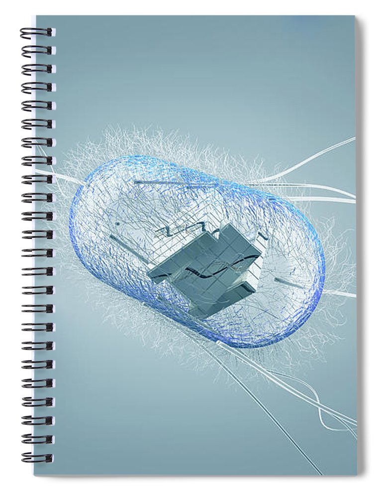 Acid Spiral Notebook featuring the photograph Engineered Bacterial, Conceptual by Ella Marus Studio