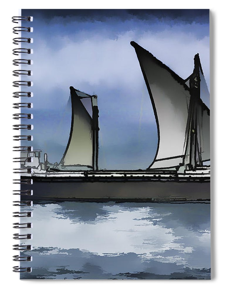 Action Spiral Notebook featuring the digital art Fishing Vessel In The Arabian Sea by Ashish Agarwal