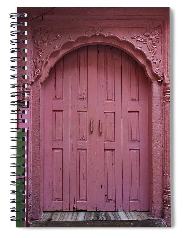Description Spiral Notebook featuring the photograph Old Doors India, Varanasi by Stereostok