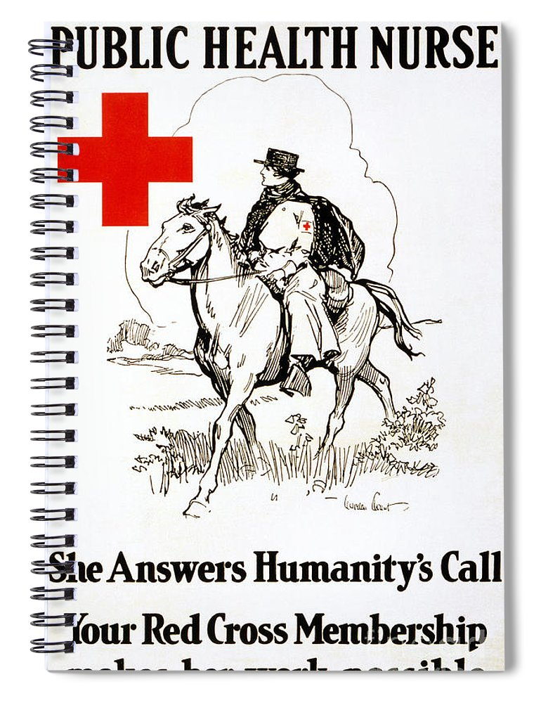 1917 Spiral Notebook featuring the photograph Red Cross Poster, C1917 by Granger