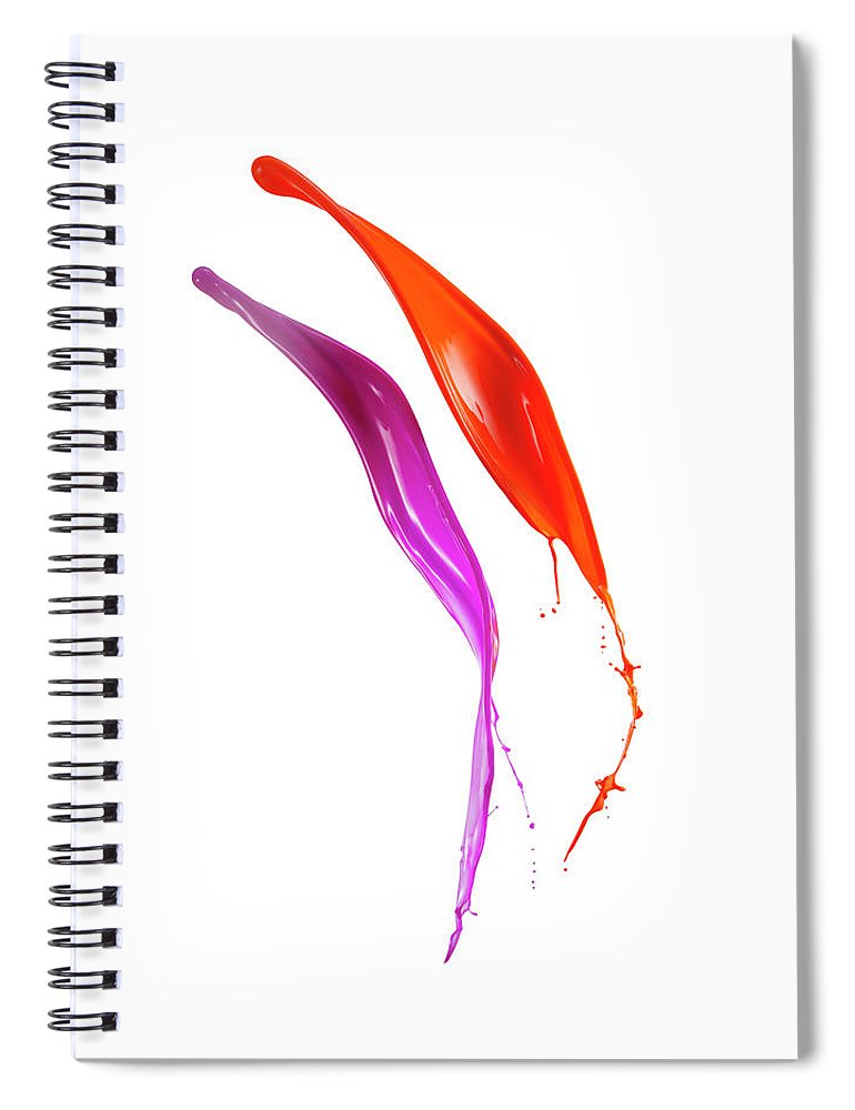 Orange Color Spiral Notebook featuring the photograph Splashing Of The Color Paint by Level1studio