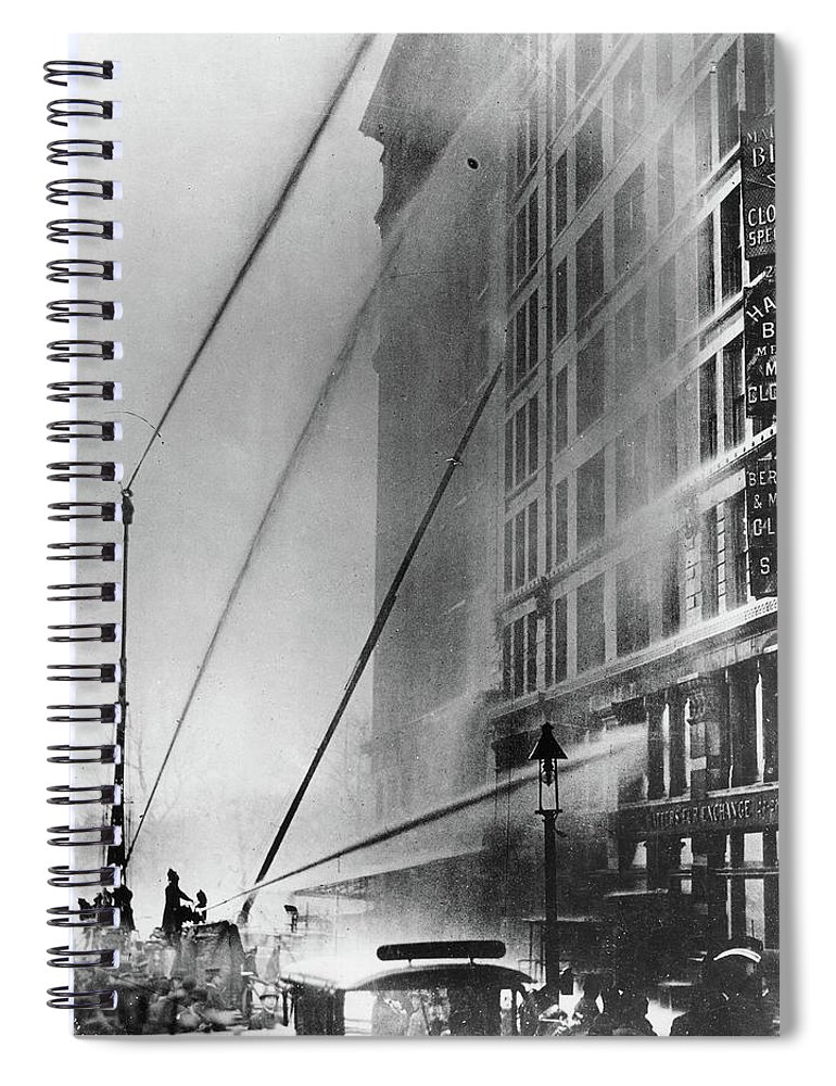 1911 Spiral Notebook featuring the photograph Triangle Factory Fire by Granger