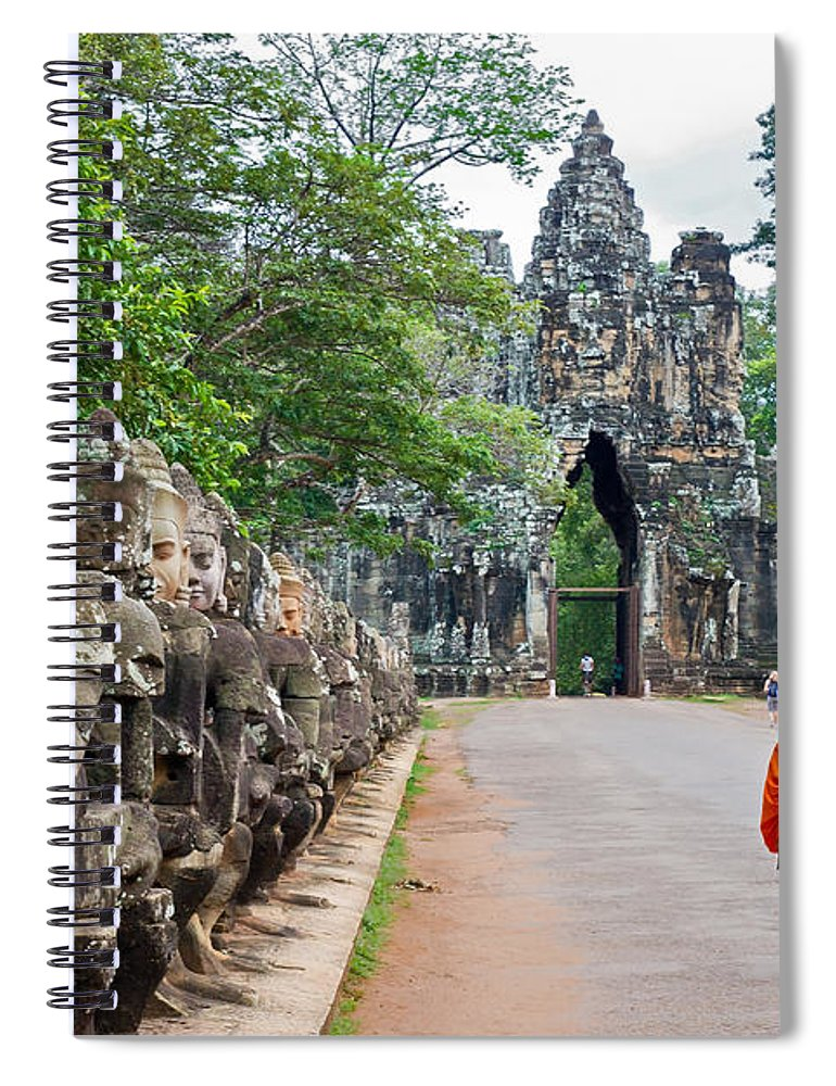 Cambodia Spiral Notebook featuring the photograph 54 Gods And A Monk by David Freuthal