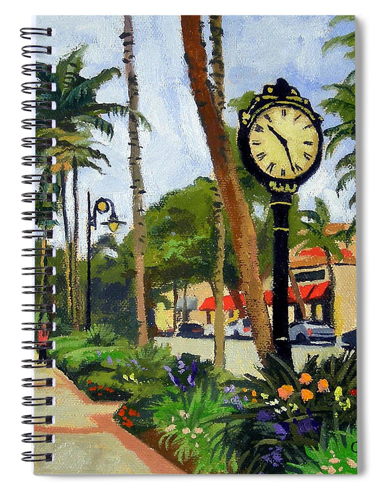 Christine Hopkins Spiral Notebook featuring the painting 5th Avenue Naples Florida by Christine Hopkins