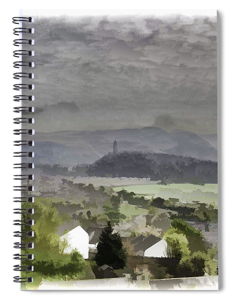 Action Spiral Notebook featuring the photograph View Of Wallace Monument And Surrounding Areas by Ashish Agarwal