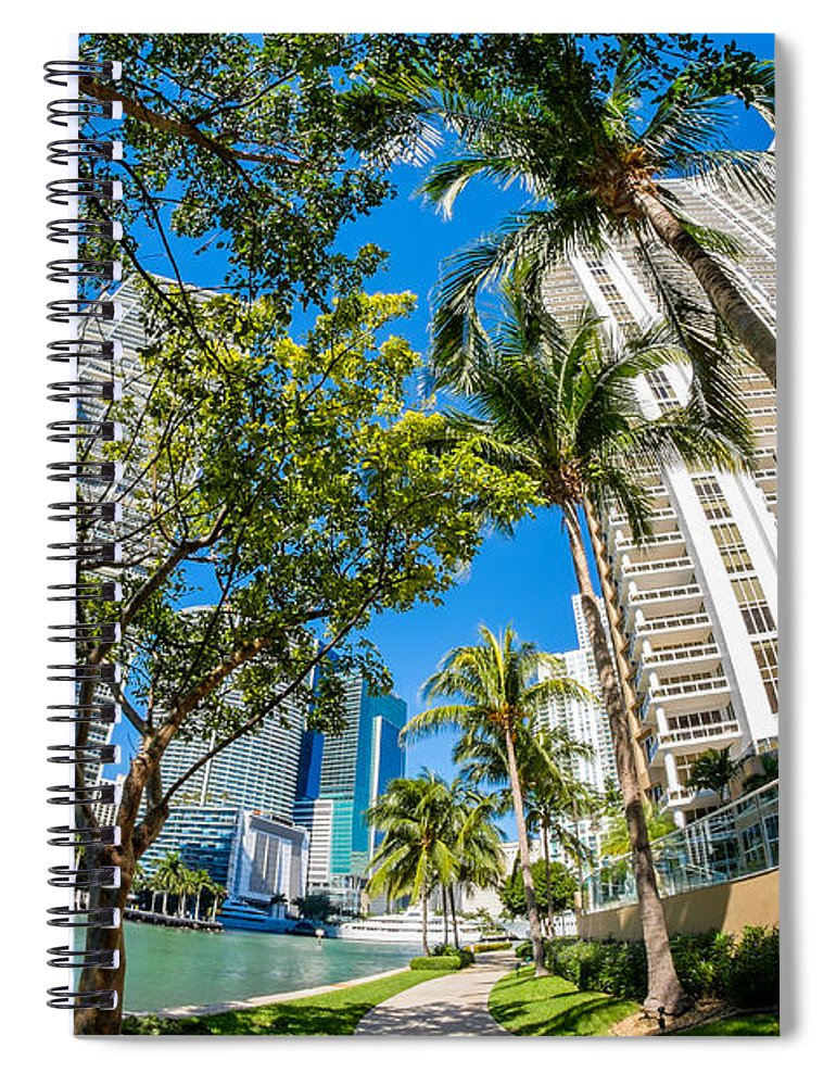 Architecture Spiral Notebook featuring the photograph Downtown Miami Brickell Fisheye by Raul Rodriguez