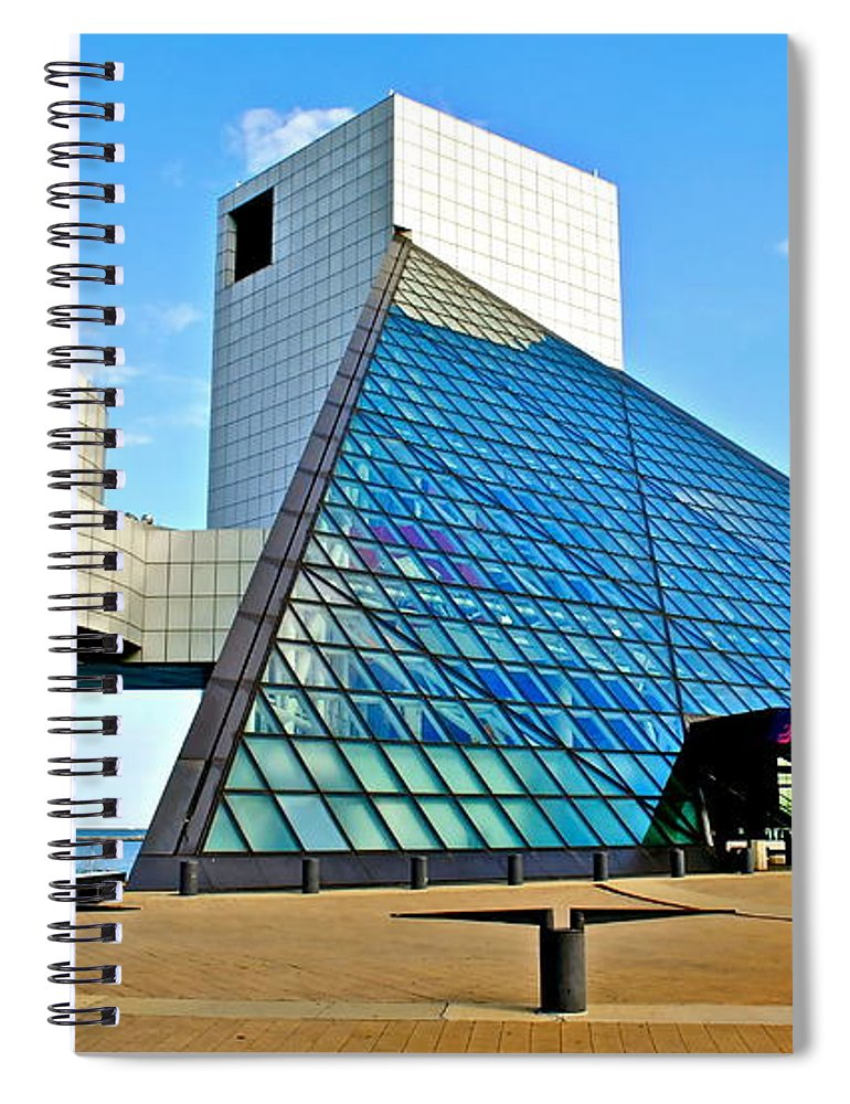 Rock Spiral Notebook featuring the photograph Rock and Roll Hall of Fame by Frozen in Time Fine Art Photography