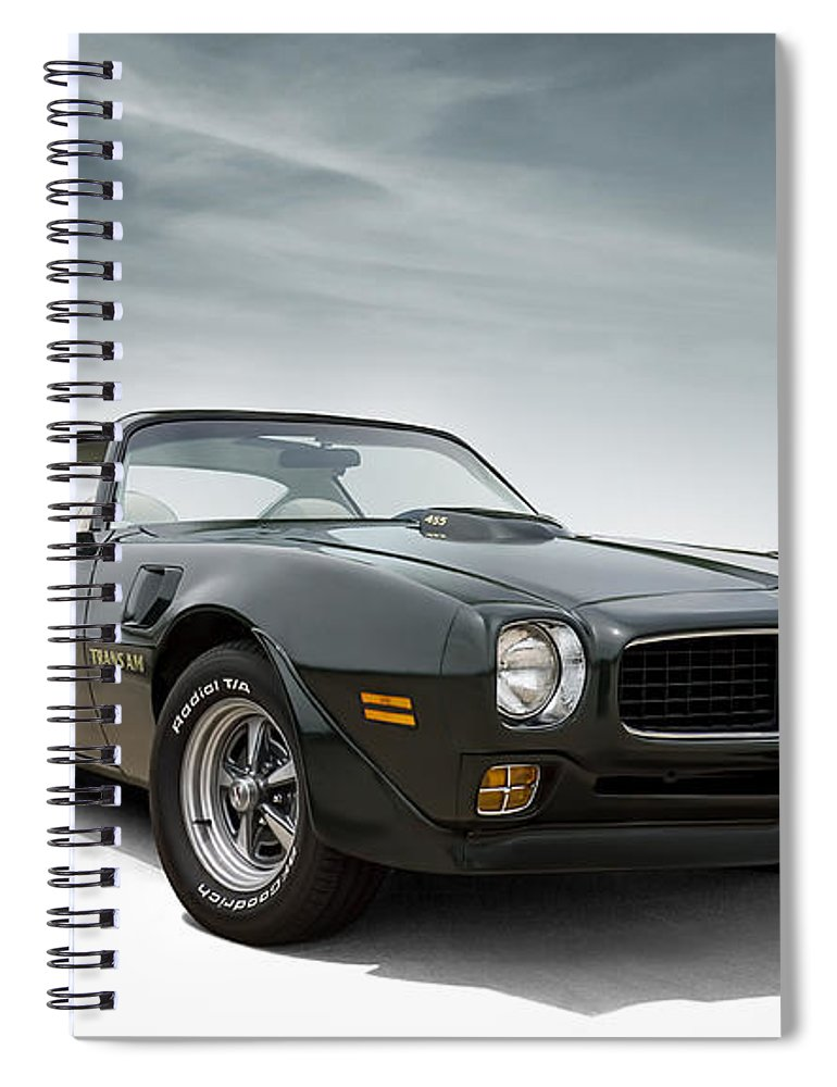 Firebird Spiral Notebook featuring the digital art '73 Trans Am by Douglas Pittman
