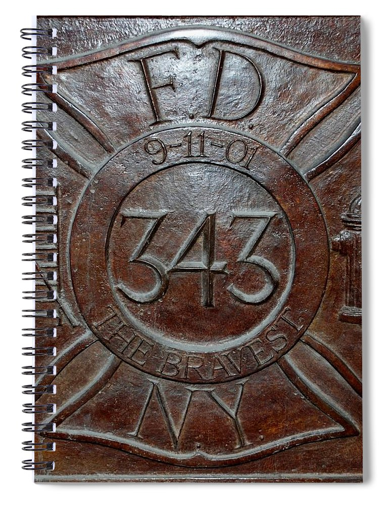 Fdny Spiral Notebook featuring the photograph 9 11 01 F D N Y 343 by Rob Hans
