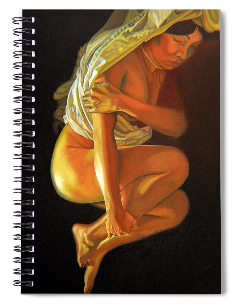 Oil_painting Spiral Notebook featuring the painting 9 30 Am by Thu Nguyen