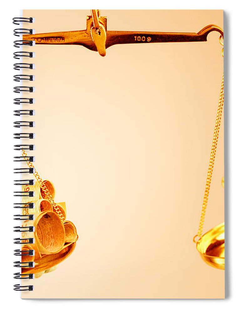 Hanging Spiral Notebook featuring the photograph A Balance Of Money And A Chess Piece by Visage
