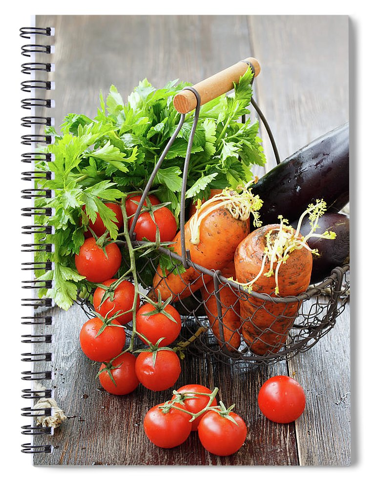 Food Spiral Notebook featuring the photograph A Basket Of Vegetables From The Farmers by Julia Khusainova