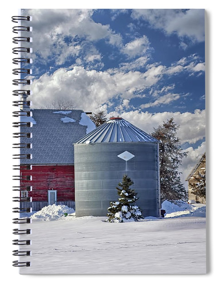 Red Barns Spiral Notebook featuring the photograph A Beautiful Winter Day by Nikolyn McDonald