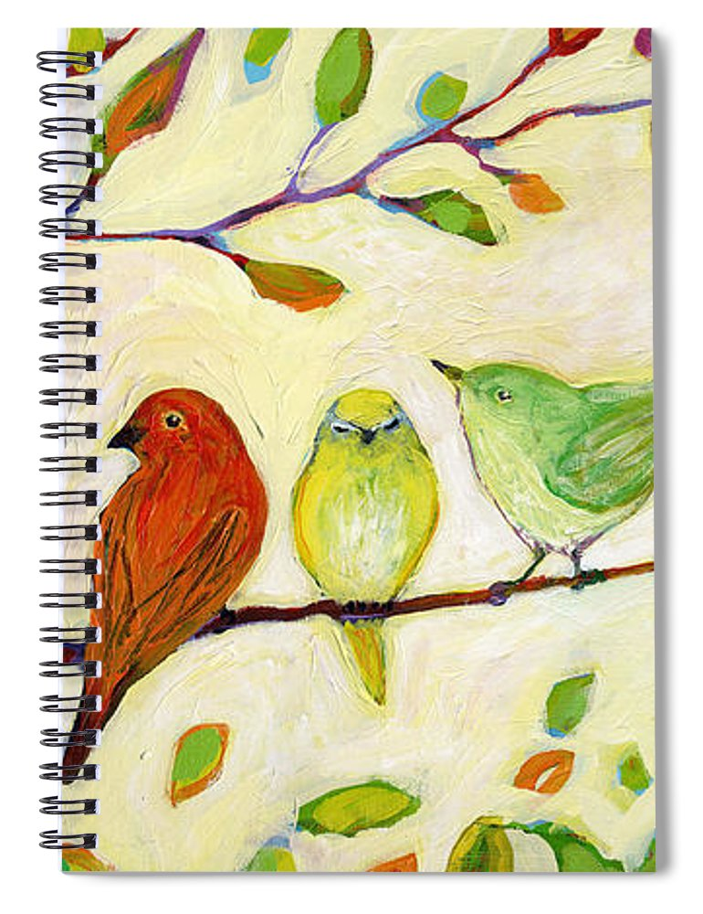Bird Spiral Notebook featuring the painting A Flock of Many Colors by Jennifer Lommers